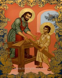Mar 19 - St. Joseph and Christ Child - icon by Lewis Williams, OFS. Happy Feast Day St. Joseph