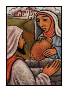Mar 24 - Lent, 3rd Sunday - The Woman at the Well - artwork by Julie Lonneman.